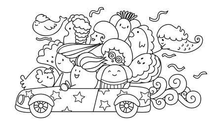 道路旅行のアイコン上の暴力団。