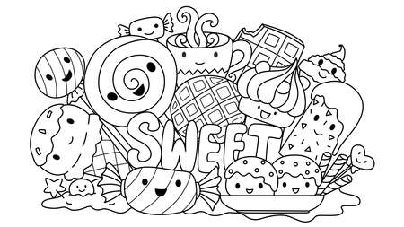 cute sweets monsters for design element and coloring book page for kids. Vector illustration