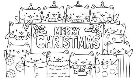 Cute cats with Merry Christmas texts for cards,invitation and coloring book page for kids. Vector illustration Illustration