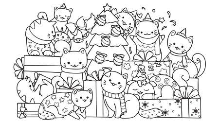 Cute cats with gift boxes and Christmas tree for design element and coloring book page for kids. Vector illustration Ilustracja