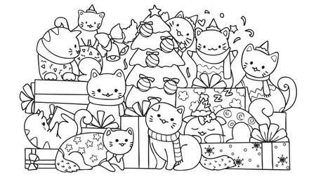 Schattige katten met geschenkdozen en kerstboom voor ontwerpelement en kleurboekpagina voor kinderen. Vector illustratie