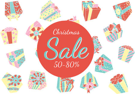 Falling colorful gift boxes isolated with Christmas promo on white background for design element.Vector illustration Illustration