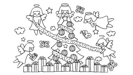 Cute angels decorating the christmas tree for coloring book page for kids.