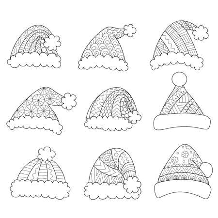 Set of santa hats isolated on white background for design element and coloring book page.