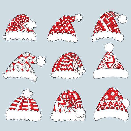 흰색 배경에 고립 된 빨간 산타 모자의 집합입니다. 일러스트