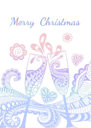 Line art design of champagne glasses toasting with the word Merry Christmas isolated on white background.