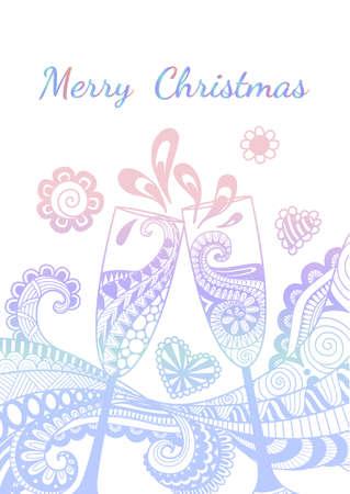 言葉はメリー クリスマスと乾杯シャンパン グラスのライン アート デザイン ホワイト バック グラウンド上に分離。 写真素材 - 90578216