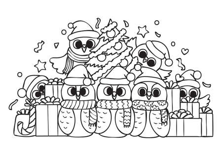 Hand drawn cute owls in Christmas party for card design and coloring book page for kids.