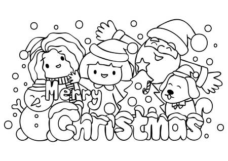 Cute kids and Santa Claus celebrate Christmas for greeting card and coloring book page illustration.