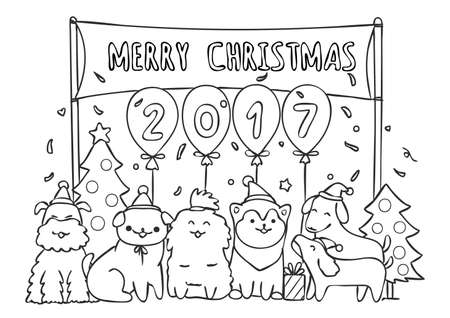 Cute happy dogs in Christmas party for greeting card and coloring book page illustration.