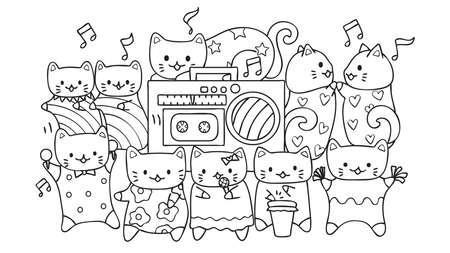 Hand drawn cute cats listening and dancing to music for design element and coloring book page for kids. Çizim