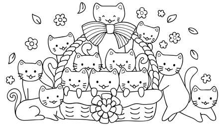 Hand drawn cute cats in basket for design element and coloring book page for kids Illusztráció
