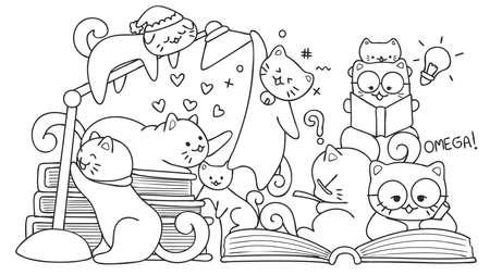 Hand getrokken schattige katten lezen voor ontwerpelement en kleurboekpagina voor kinderen. Vector illustratie Stock Illustratie
