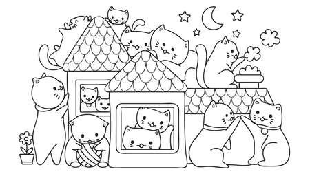 손으로 그린 귀여운 고양이 밤에 집에서 디자인 요소 및 색칠하기 책 페이지에 대 한 재생. 벡터 일러스트 레이 션