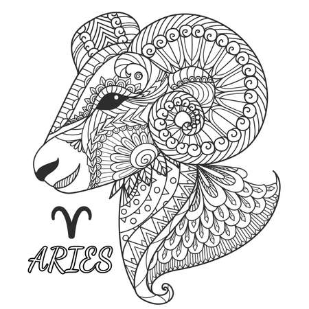 Zen art design of Aries zodiac sign for design element and coloring book page.