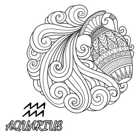 Line art design of Aquarius zodiac sign for design element and coloring book page. VEctor illustration. Vectores