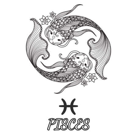 Line art design of pisces zodiac sign for design element and adult coloring book page. Vettoriali