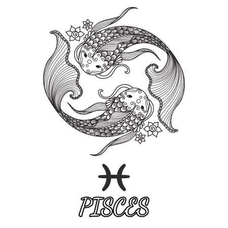 Line art design of pisces zodiac sign for design element and adult coloring book page. Ilustração