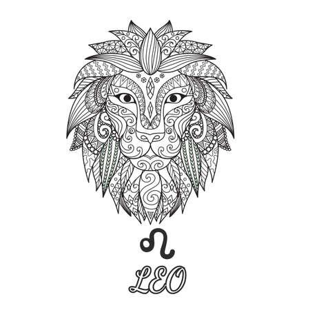 Conception Zendoodle du signe du zodiaque Leo pour illustration et page de livre à colorier pour adulte. Banque de stock. Vecteurs