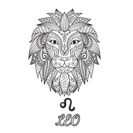 Zendoodle design of Leo zodiac sign for illustration and coloring book page for adult. Stock Vector.