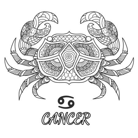 Line art design of Cancer zodiac sign for design element and adult coloring book page. Vector illustration. Vettoriali