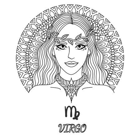 Line art design of beautiful girl,virgo zodiac sign for design element and coloring book page for adult Vettoriali