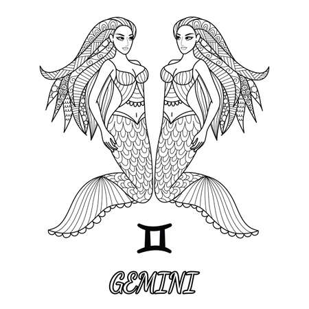 Line art design of Gemini zodiac sign for design element and adult coloring book page.Vector illustration Stock Vector - 92827650