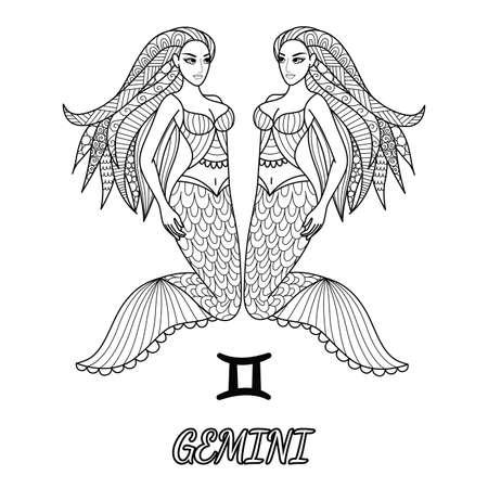 Linha arte design do signo de gêmeos para elemento de design e página de livro de colorir de adulto.Ilustração vetorial Ilustración de vector