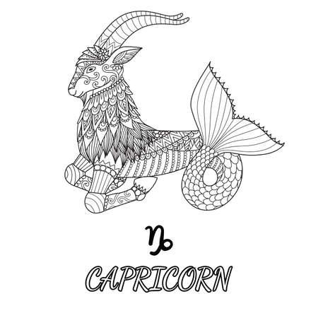 Design de arte linha do signo de Capricórnio para elemento de design e página de livro de colorir adulto. Ilustração vetorial Ilustración de vector