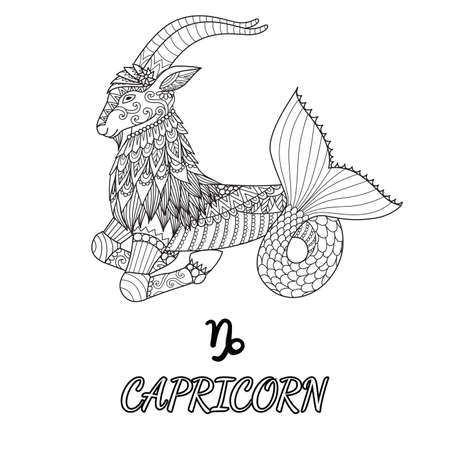 Line art design of Capricorn zodiac sign for design element and adult coloring book page. Vector illustration Vettoriali