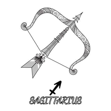 Diseño de línea de arte del signo del zodiaco Sagitario para elemento de diseño y página de libro para colorear para adultos. Ilustración vectorial