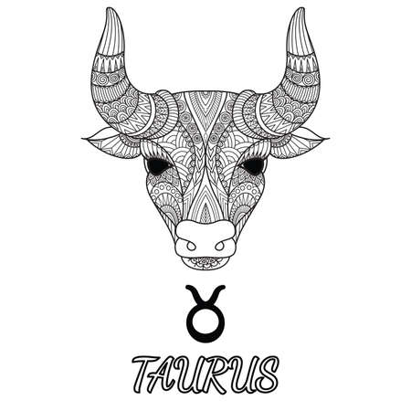 Zen doodle design of Taurus zodiac sign for design element and adult coloring book page. Vector illustration