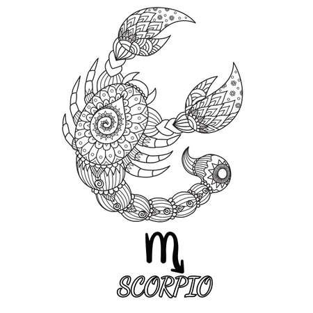 Diseño de doodle zen de signo del zodiaco de Escorpio para el elemento de diseño y la página de libro para colorear de adultos. Stock Vector