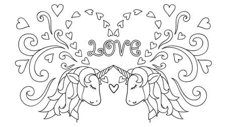 Hand drawn Unicorn. Magical animal. Vector artwork. Black and white. Coloring book pages for adults and kids. Happy Valentines day card. Vector illustration