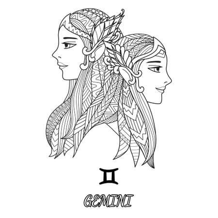 Line art design du signe du zodiaque Gemini pour élément de design et page de livre de coloriage adulte. Illustration vectorielle