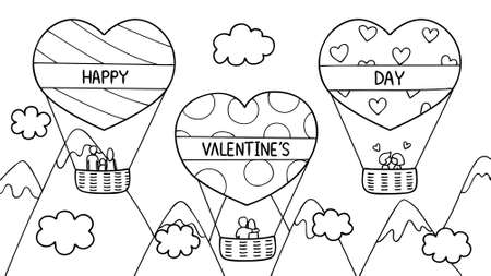 Hand drawn of couples and family spending good time on hearted shape hot air balloon for Valentine's day. Vector illustration for cards,invitation and coloring book page for both kids and adults. Ilustração