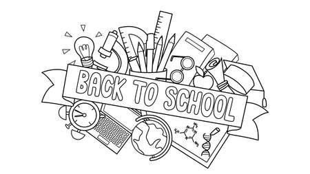 Doodle of student supplies with Back to School label in front for design element and coloring book page for kids. Vector illustration.