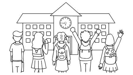 Hand drawn students standing in front of school house,back to school,for design element and coloring book page for kids. 向量圖像