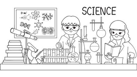 Hand drawn cute kids doing test in laboratory for design element and coloring book page for kids. Vector illustration Illustration
