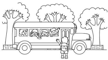 スクールバスに手描きの子供たちは、彼らの友人を見て幸せです, 学校に戻って, デザイン要素のための教育コンセプトと子供のための塗り絵のペー