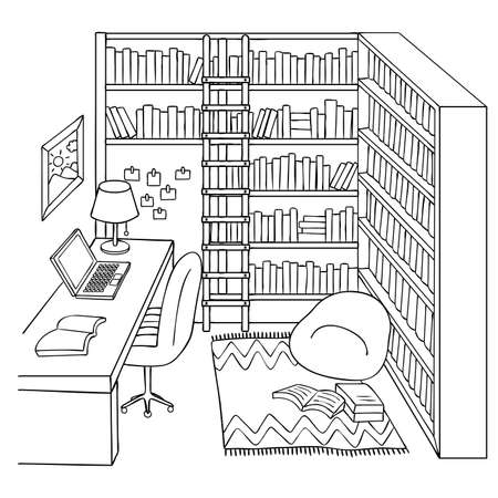 Hand drawn study or library room for design element and coloring book page. Vector illustration.