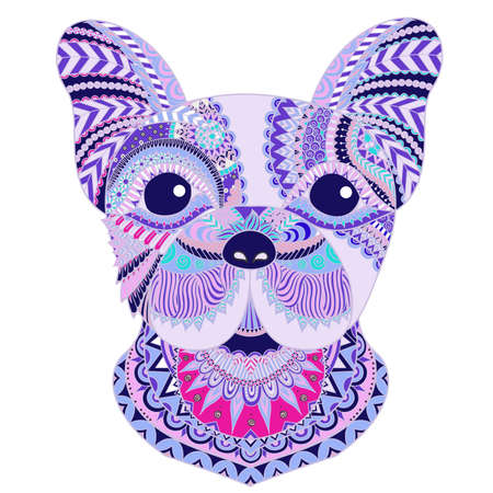 Colorful french bulldog for t-shirt design and other printings. Vector illustration.