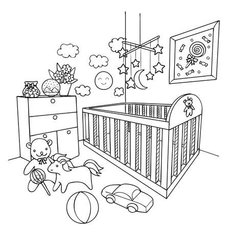 Hand drawn baby room for design element and coloring book page. Vector illustration.