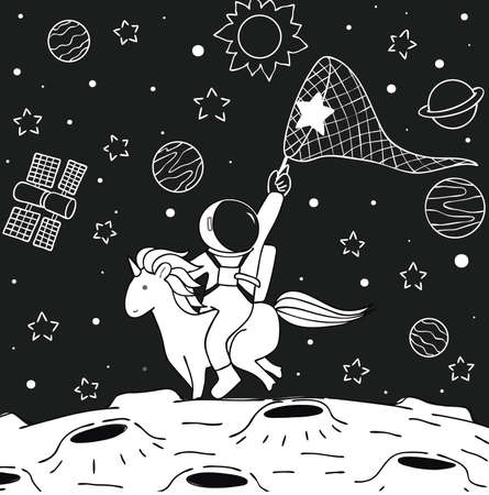 Cute funny astronaut riding unicorn to catch the star on moon for print on your product and coloring book page for relaxing vector illustration. 向量圖像