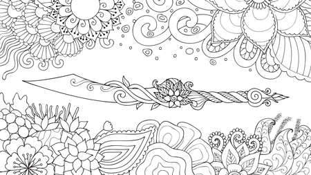Hand drawn dagger surrounding with beautiful flowers, for illustration and coloring book page for both kids and adult