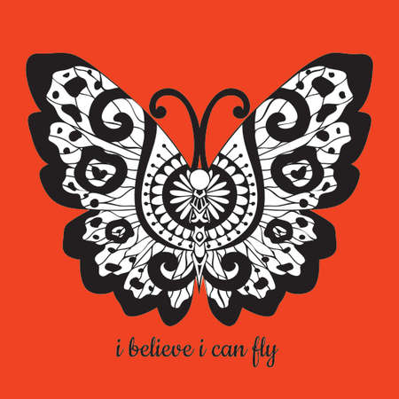 Hand drawn beautiful butterfly wings with slogan I BELIEVE I CAN FLY for t shirt printing and embroidery, Graphic tee and printed tee