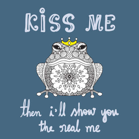 Hand drawn cute funny frog with mandala art with slogan KISS ME THEN I WILL SHOW YOU THE REAL ME, illustrate from tale for t shirt printing and embroidery, Graphic t shirt & Printed t shirt