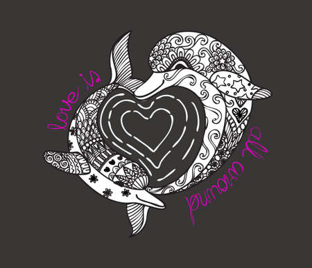 Hand drawn zen art of two cute dolphins with hearted shape sea wave and slogan LOVE IS ALL AROUND for t-shirt printing and embroidery,graphic t shirt and printed tee.Vector illustration