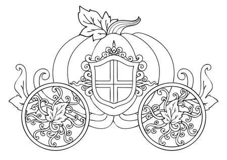 Hand drawn horse carriage of pumpkin with ornament isolated on white for a poster or card for the holiday Halloween or thanksgiving day and coloring book page for kids and adult. Vector illustration