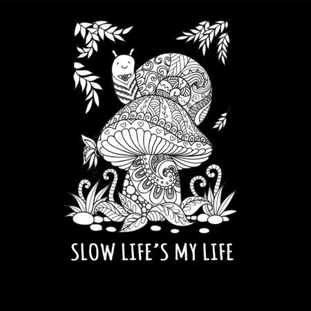Zen line art in the happy snail sitting on beautiful mushroom with the slogan SLOW LIFE IS MY LIFE for t shirt printing, Graphic tee and printed tee. Vector illustration